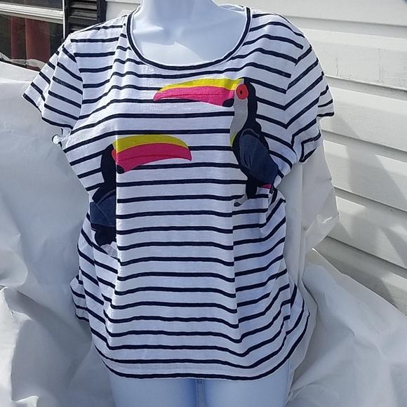 b595d2e61df22 crown & ivy Tops - Crown &ivy women's XL. White,blue stripe toucan